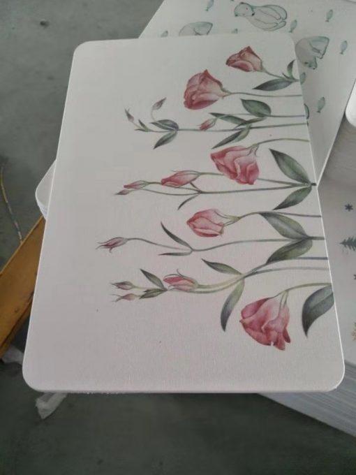 thảm đá hút nước hoa văn hoa hồng
